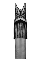 Topshop Fringe Mesh Maxi Cover Up Black