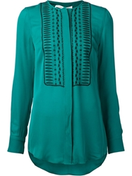 Veronica Beard Embroidered Placket Blouse Green