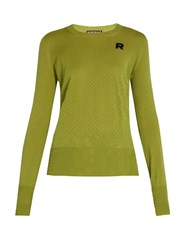 Rochas Eyelet Knit Wool Sweater Light Green