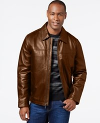 Perry Ellis Big And Tall Open Bottom Leather Jacket With Printed Lining