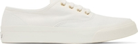 Maison Kitsune White Canvas Lace Up Sneakers