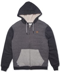 Rip Curl Men's Surf Check Colorblocked Hoodie With Faux Fur Lining Charcoal