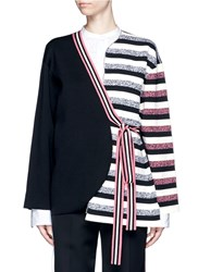Ports 1961 Stripe Knit Sash Tie Kimono Wrap Jacket Multi Colour