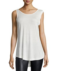 Halston Sleeveless Cowl Back Knit Top Linen White