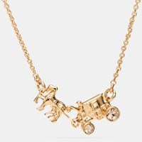 Coach Pave Horse And Carriage Necklace Gold