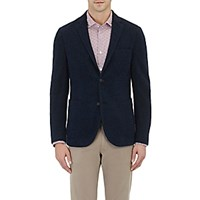 Montedoro Men's Shaggy Brushed Two Button Sportcoat Blue