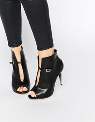 Little Mistress Garbo Peep Toe Heeled Ankle Boots Black