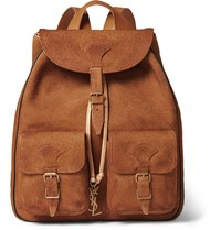 Saint Laurent Leather Trimmed Suede Backpack Tan