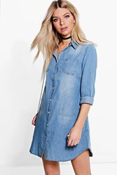 Boohoo Button Through Denim Shirt Dress Blue