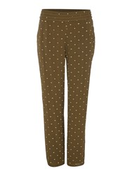Biba Embroidered Viscose Slouch Trouser Khaki