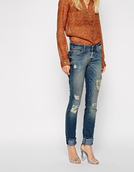7 For All Mankind Cristen Distressed Skinny Jeans Cristenblue