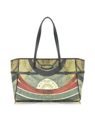 Gattinoni Planetarium Coated Canvas Tote W Leather Stripes Green