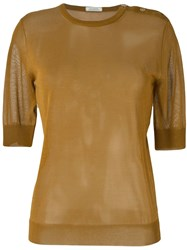 Nina Ricci Shoulder Buttons Knitted Top Brown