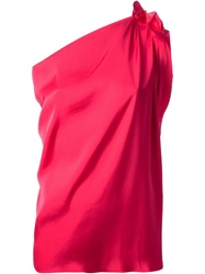 Lanvin One Shoulder Blouse Pink And Purple