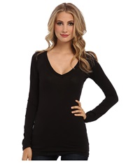 Lamade Fitted V Neck Tee Black Women's Long Sleeve Pullover