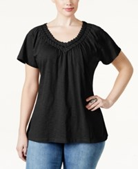 Jm Collection Woman Jm Collection Plus Size Short Sleeve Crochet V Neck Tee Only At Macy's