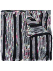 Missoni Striped Knitted Scarf Black