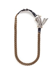 Lanvin 'Diane' Crystal Half Bow Curb Chain Necklace Metallic