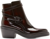 Yang Li Burgundy Leather Ankle Boots