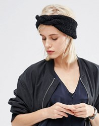 Asos Chunky Headband With Plait Front Black