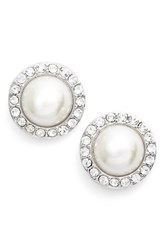 Women's Givenchy Pave Faux Pearl Button Earrings