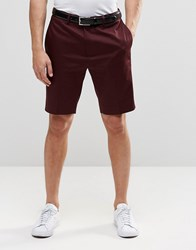 Asos Skinny Smart Shorts In Cotton Sateen New Burgundy Red