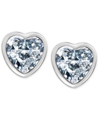 T Tahari Silver Tone Crystal Heart Stud Earrings