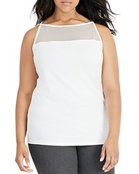 Ralph Lauren Plus Mesh Yoke Jersey Tank French Cream