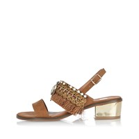 River Island Womens Light Brown Fringe Block Heel Sandals