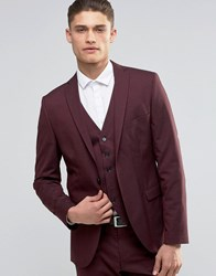 Selected Homme Suit Jacket With Stretch In Slim Fit Burgundy Red