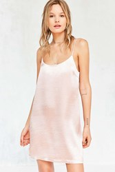 Silence And Noise Satin Shine Mini Slip Dress Blush