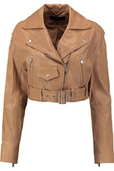 Tibi Anesia Belted Leather Jacket Tan