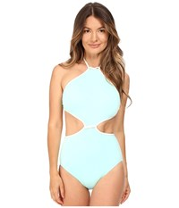 Kate Spade Cut Out High Neck Maillot Caribbean Sky Women's Swimsuits One Piece Blue