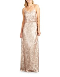Donna Morgan Sequin Spaghetti Strap Gown Rose Quartz