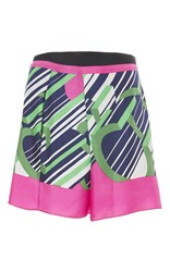 Carven Monogram Twill Print Shorts Pink