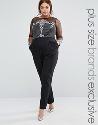 Little Mistress Plus Sequin Embroidered Jumpsuit With Mesh Sleeves Black