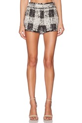 Rachel Zoe Leo Fringe Short Black And White