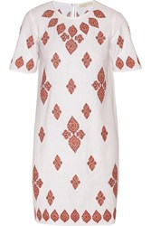 Michael Michael Kors Embroidered Cotton Muslin Dress White