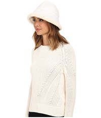 Ugg Lorien Cloche With Shearling Trim 14 White Multi Traditional Hats