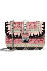 Valentino Lock Medium Embellished Leather Shoulder Bag Black