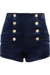 Balmain Pierre Stretch Velvet Shorts Navy