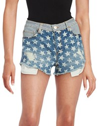 Design Lab Lord And Taylor Stars Stripes Jean Shorts Pinstripe