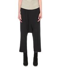 Rick Owens Dropped Crotch Cropped Crepe Trousers Black