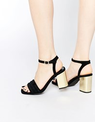 Senso Reid Black Suede Block Heel Two Part Sandals Black