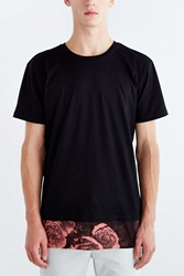 The Narrows Floral Pieced Hem Crew Neck Tee Black