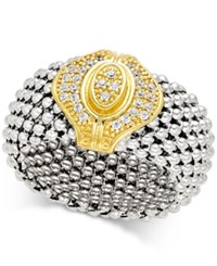 Macy's Diamond Two Tone Mesh Ring 1 5 Ct. T.W. In Sterling Silver And 14K Gold Plated Sterling Silver Gold Over Sterling Silver
