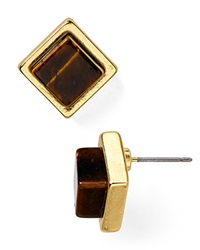 Dylan Gray Square Stud Earrings Brown Gold