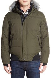 Men's Point Zero Water Resistant Hooded Down Parka With Faux Fur Trim Military