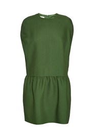 Valentino Dropped Waist Wool And Silk Blend Cape Dress Green