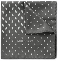 Mulberry Leaf Print Silk Twill Pocket Square Gray